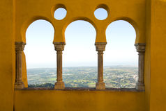 View of sintra by arabic windows. View of Sintra city in Portugal by arabic shape window Royalty Free Stock Photos