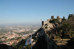 View of Sintra and Castelo dos Mouros. Panoramic view of Sintra from Castelo dos Mouros Stock Photo