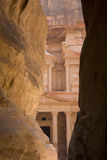 View through the Siq to the Treasury, Petra, Jordan. Royalty Free Stock Images