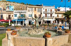 View of Sirena fountain on the central square of Mondello in Palermo. Royalty Free Stock Image