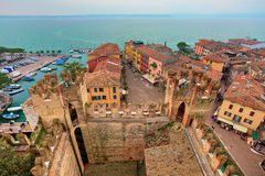 View on Sirmione and Lake Garda from castle. Stock Photography