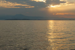 View of Sirmione, Lake garda from Desenzano,  Italy. Captured at Stock Image