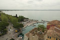 The view of Sirmione from Medieval fortress walls, Italy stock photography