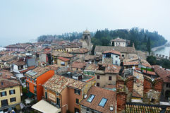 View of Sirmione town from the castle with fog Lake Garda Royalty Free Stock Photos