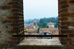 View of Sirmione town from castle window, Lake Garda Royalty Free Stock Photography