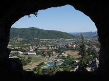 View of Sisteron through a cave room in the cliff Stock Photo