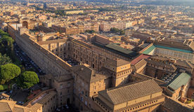 A view of the Sistine Chapel and the Vatican Museums in Rome. From the dome of St. Peter Stock Images