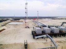 View of the site with compressors for liquefying associated petroleum gas. View of the site with compressors for liquefying associated petroleum gas Royalty Free Stock Image