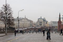 View of the site of the murder of politician Boris Nemtsov Royalty Free Stock Photo