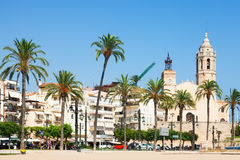 View of Sitges from beach Royalty Free Stock Photo