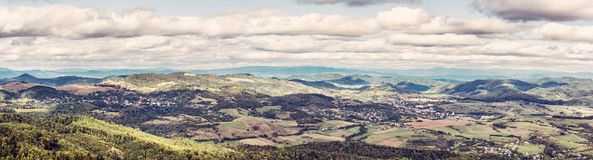 View from the Sitno hill to Stiavnica mountains, old filter Stock Image