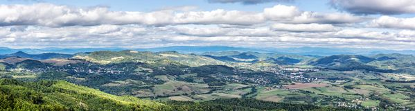 View from the Sitno hill to Stiavnica mountains, panoramic natur Stock Images