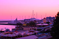 View of the sity at sunset, Sochi Royalty Free Stock Images