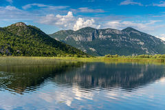View from the Skadar Lake Mountain with reflection Royalty Free Stock Image