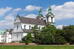 View on skalka church in old town of cracow in poland stock image