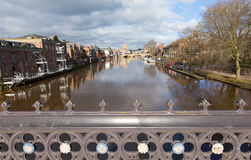 View from Skeldergate Bridge York England with River Ouse within city walls Stock Images