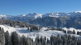 View of the ski area Braunwald Royalty Free Stock Photos