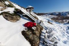View of ski equipment on snowy mountain Royalty Free Stock Photos