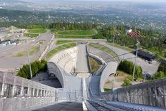 View from ski jumps tower Royalty Free Stock Images