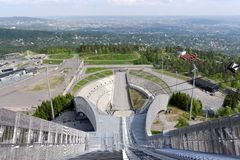View from ski jumps tower Stock Photos