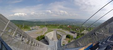 View from ski jumps tower royalty free stock photo