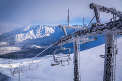 View of the ski lift from Kasprowy Wierch Royalty Free Stock Images