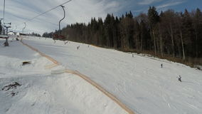 View from the ski lift to the ski slope. stock video