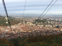 View from a ski lift towards mount tampa. In Brasov Romania Royalty Free Stock Images