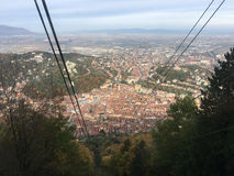 View from a ski lift towards mount tampa. In Brasov Romania Royalty Free Stock Photos