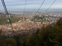 View from a ski lift towards mount tampa. In Brasov Romania Royalty Free Stock Image