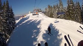 View from the ski lifts in Bukovel stock video footage