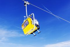 A view of ski lifts and ski piste in St Moritz Switzerland in the alps Stock Images