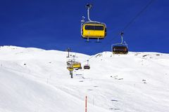A view of ski lifts and ski piste in St Moritz Switzerland in the alps Stock Photography