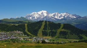 View of ski resort. View of the les saisies ski resort in summer in front of the mont blanc in french alps Royalty Free Stock Images