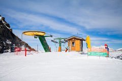 View of ski resort in Alps. Arabba, Italy -  February 04, 2015: Funicular on  ski resort in Alps, Sella Ronda Stock Image