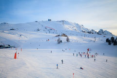View of ski resort in Alps Royalty Free Stock Images
