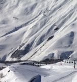View on ski resort Gudauri in sunny day Stock Photography