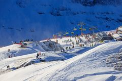 View of the ski resort Jungfrau Wengen. In Switzerland Stock Image