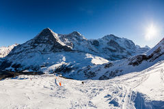 View of the ski resort Jungfrau Wengen in Switzerland Stock Photo