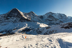 View of the ski resort Jungfrau Wengen in Switzerland Stock Image