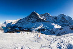 View of the ski resort Jungfrau Wengen in Switzerland Royalty Free Stock Photos
