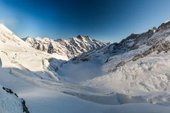 View of the ski resort Jungfrau Wengen in Switzerland. View to the Eismeer from Jungfrau railway in Switzerland on January 2017 royalty free stock photo