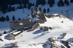 View of the ski resort Jungfrau Wengen Royalty Free Stock Photos