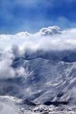 View on ski resort at mist Royalty Free Stock Photo