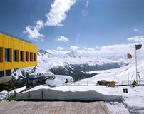 A view of ski resort and snowy mountain in St Moritz Switzerland Royalty Free Stock Photos