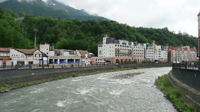 view on ski resort of world class Rosa Khutor stock video footage