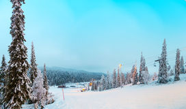 View of the ski slope Ruka, Finland. Views of the ski slopes with the included hand lanterns, Finland Royalty Free Stock Images