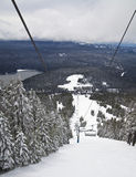 View of ski slopes from lift Royalty Free Stock Images