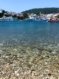 The view of Skiathos and the port royalty free stock photography