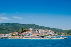 View of Skiathos town and harbour Royalty Free Stock Images